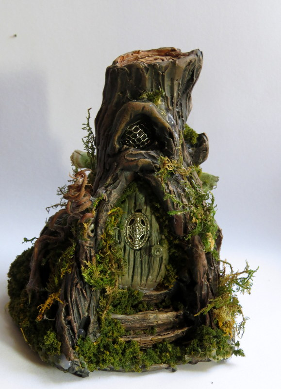 Miniature lighted fairy house tree stump by for How to make illuminated tree stumps
