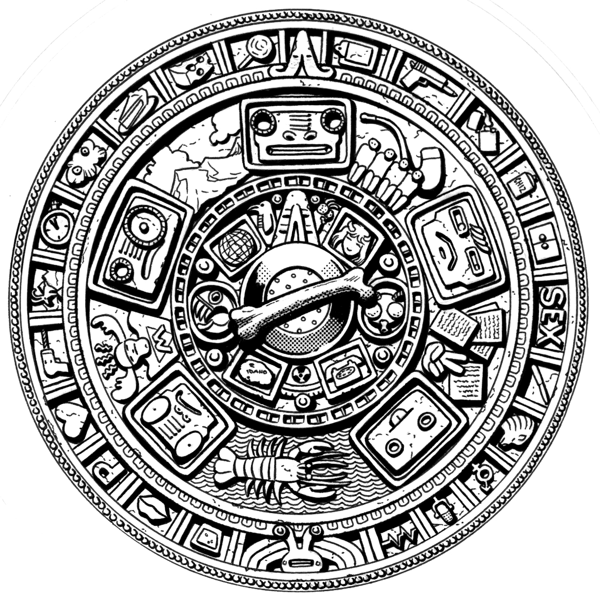 Mayan Calendar Vector Art : Bonefish mayan bonewheel by steampoweredmikej on deviantart