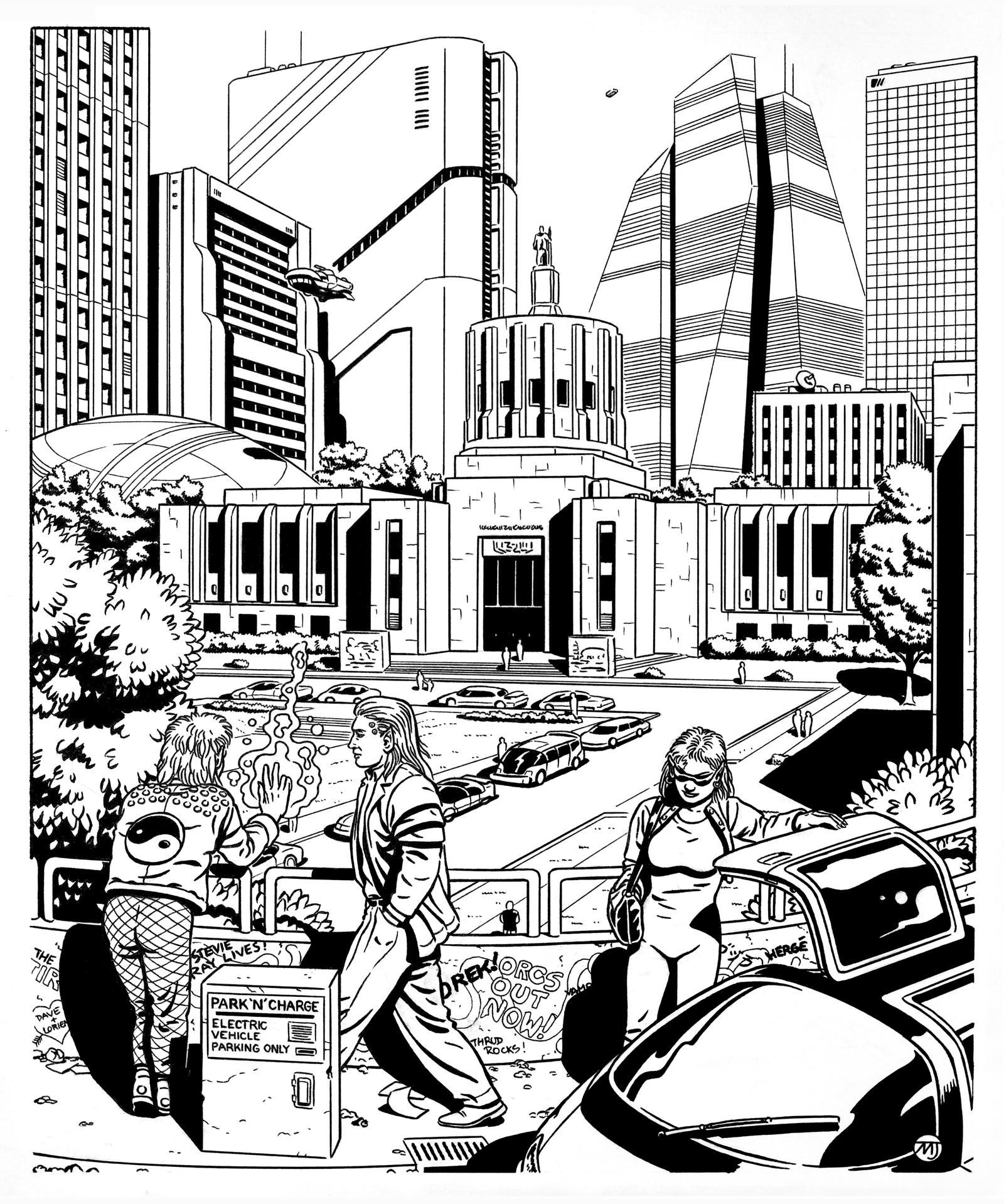 Shadowrun - City Hall Vista by SteamPoweredMikeJ