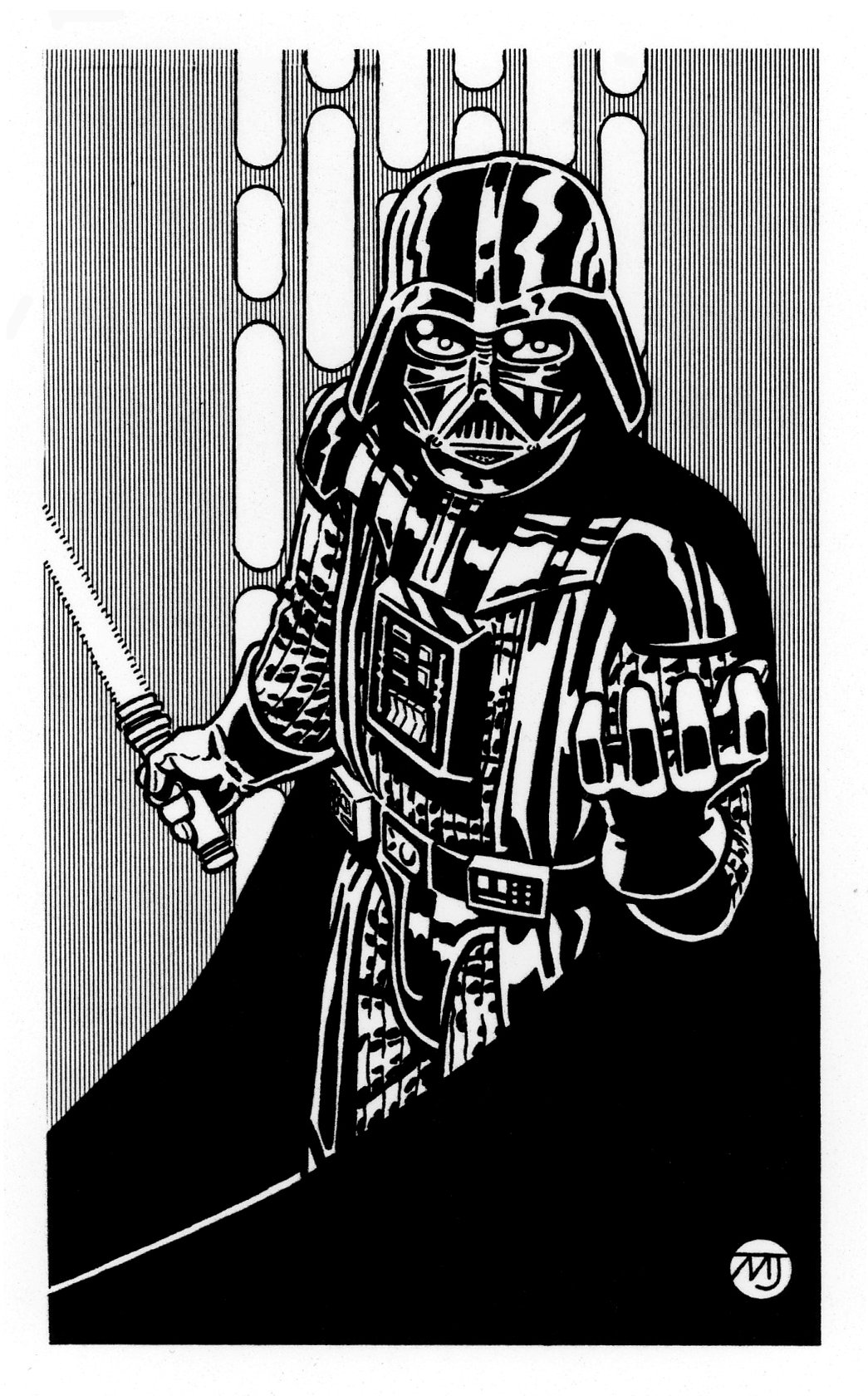 Star wars darth vader by steampoweredmikej on deviantart for Darth vader black and white