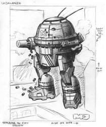 Battletech Card  - Pencils - Urbanmech by SteamPoweredMikeJ