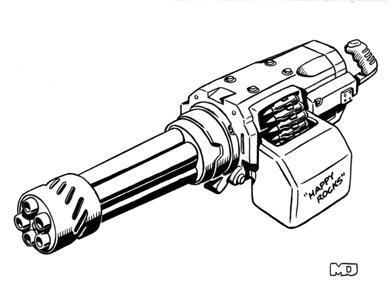 m16 coloring pages - minigun gun drawings sketch coloring page