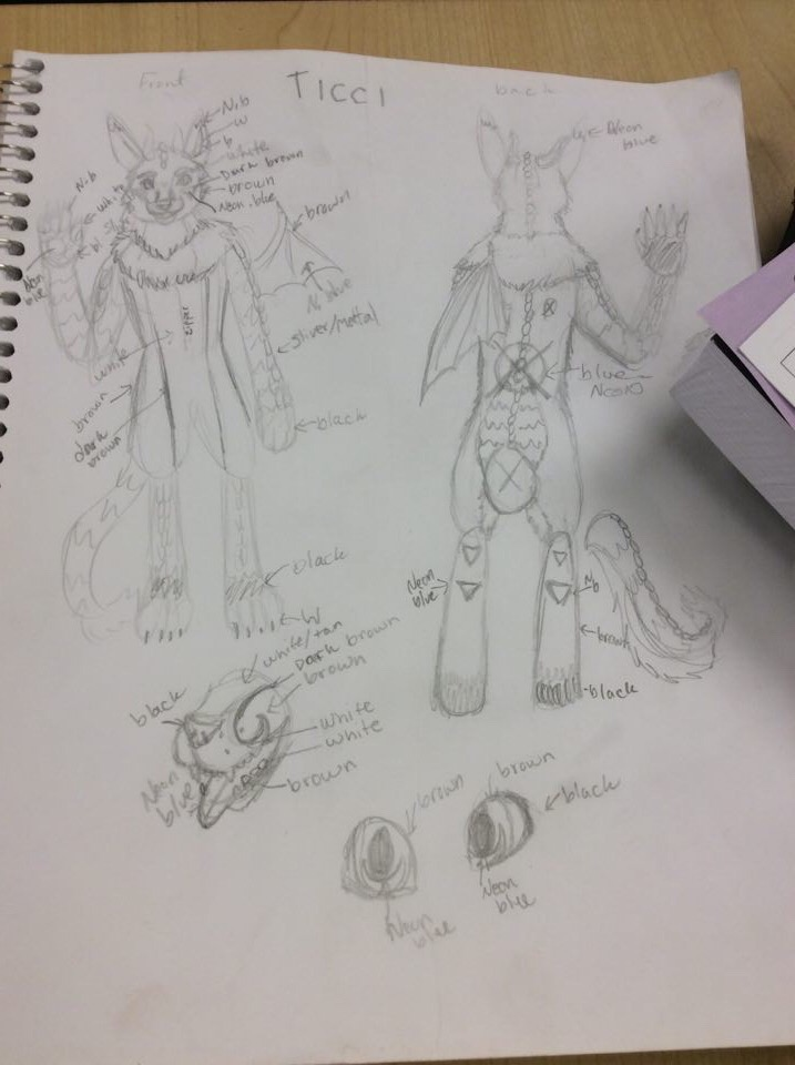 Costume design for my wolfdragon ticci fursuit by Stormdeathstar9