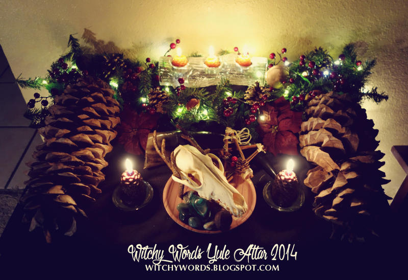 Witchy Words Yule Altar 2014 by meiken