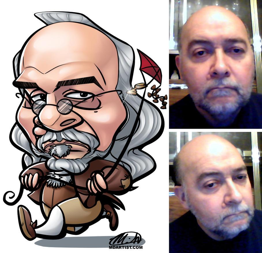 Benjamin Franklin Caricature Commission by meiken