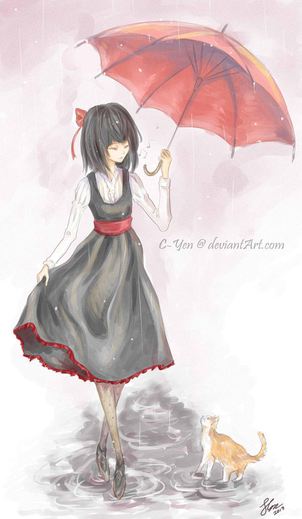 the girl with the red umbrella by cyen on deviantart