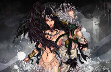 Secret Santa 2014 - Lilith and Belial by C-Yen