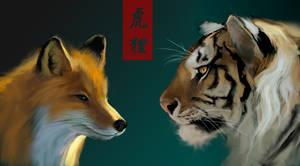 fox  tiger