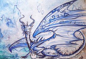 Hystoriated blue dragon by ElenaZambelli