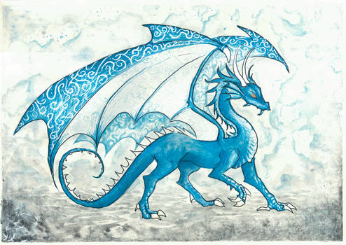 Menacing blue dragon