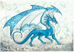 Menacing blue dragon