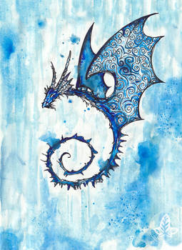Hystoriated flying blue dragon
