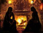 Raistlin and Dalamar - fireplace by ElenaZambelli