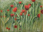Poppy field - painting