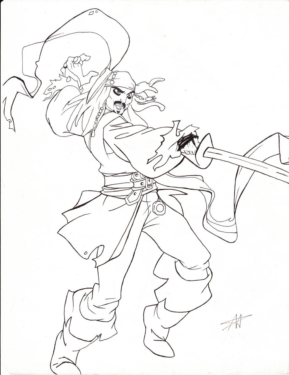 Captain Jack Sparrow-line art by DisneyFan-01 on DeviantArt