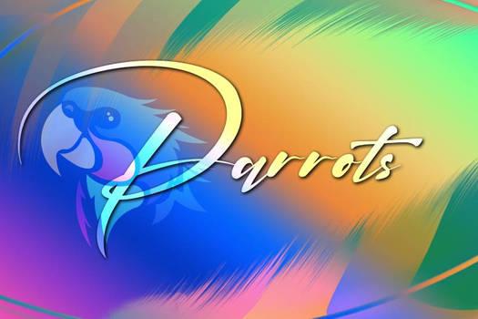 PARROTS - LOGO + FEATHER BACKGROUND