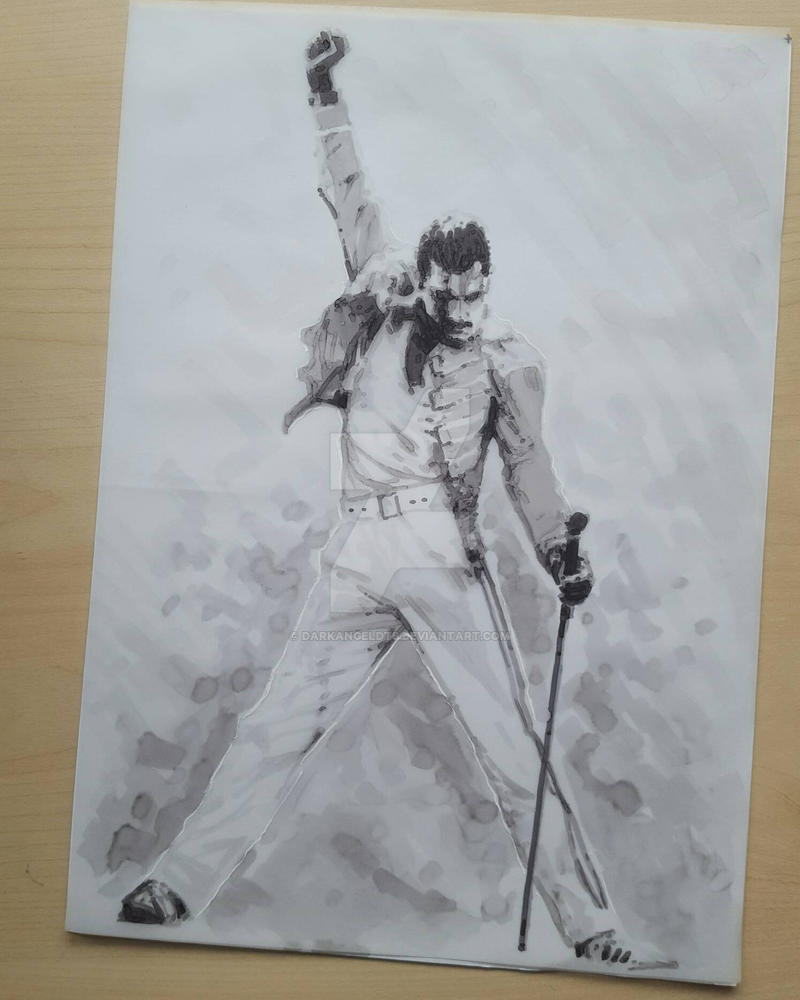 Freddie Mercury marker sketch by DarkAngelDTB