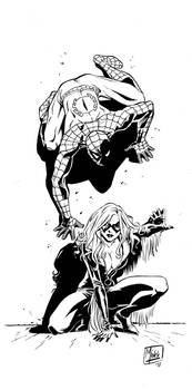 Pin up Spidey and Black Cat