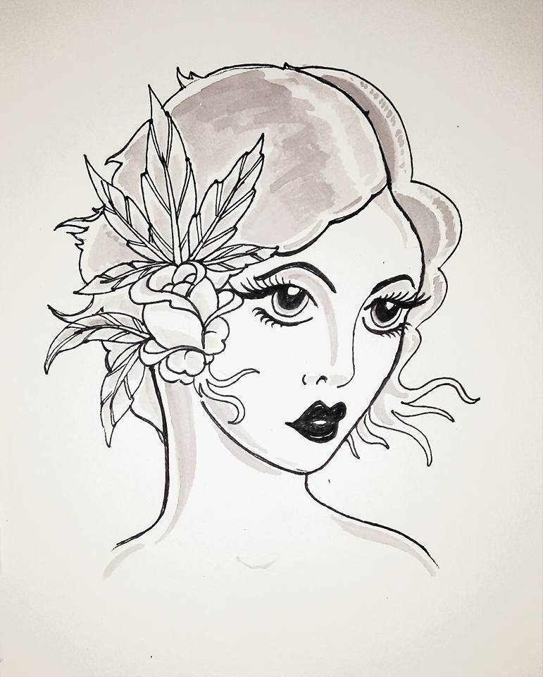 Line Drawing Face Tattoo : Woman face drawing tattoo imgkid the image kid