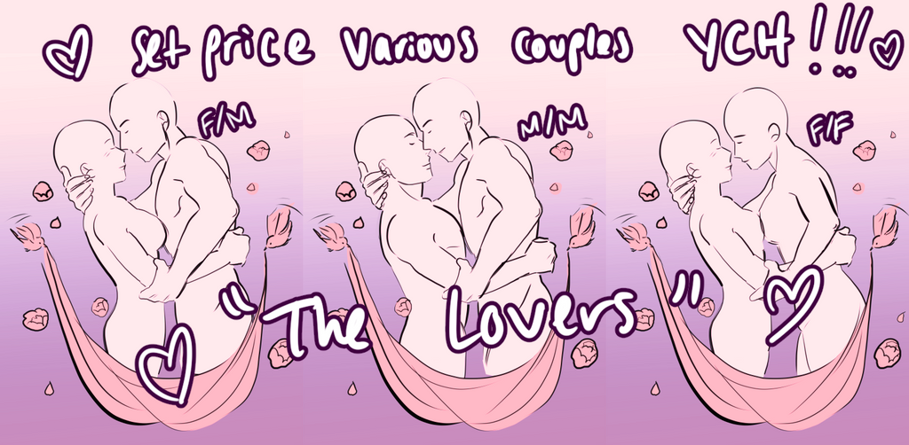 Any Gender Couple YCH: Lovers [OPEN] by boniae