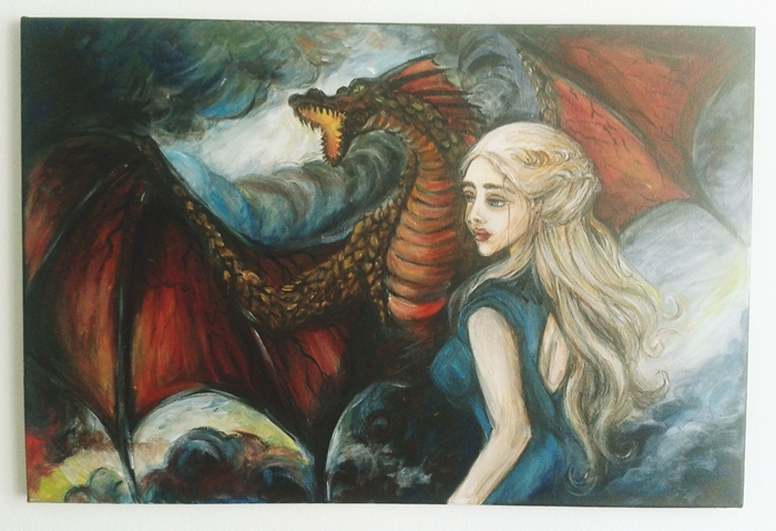 Daenerys Targaryen and Drogon by leilaamira