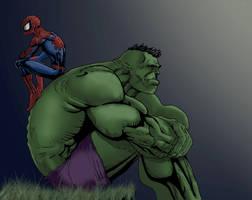 Hulk spidey pondering colored by aftershock80