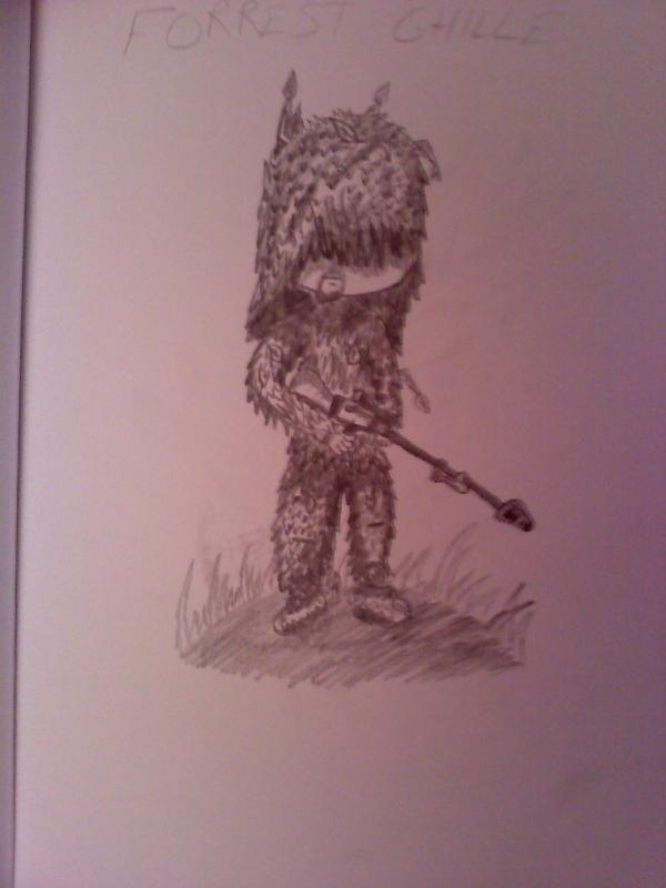 Ghillie Sniper Drawing by Skull1000