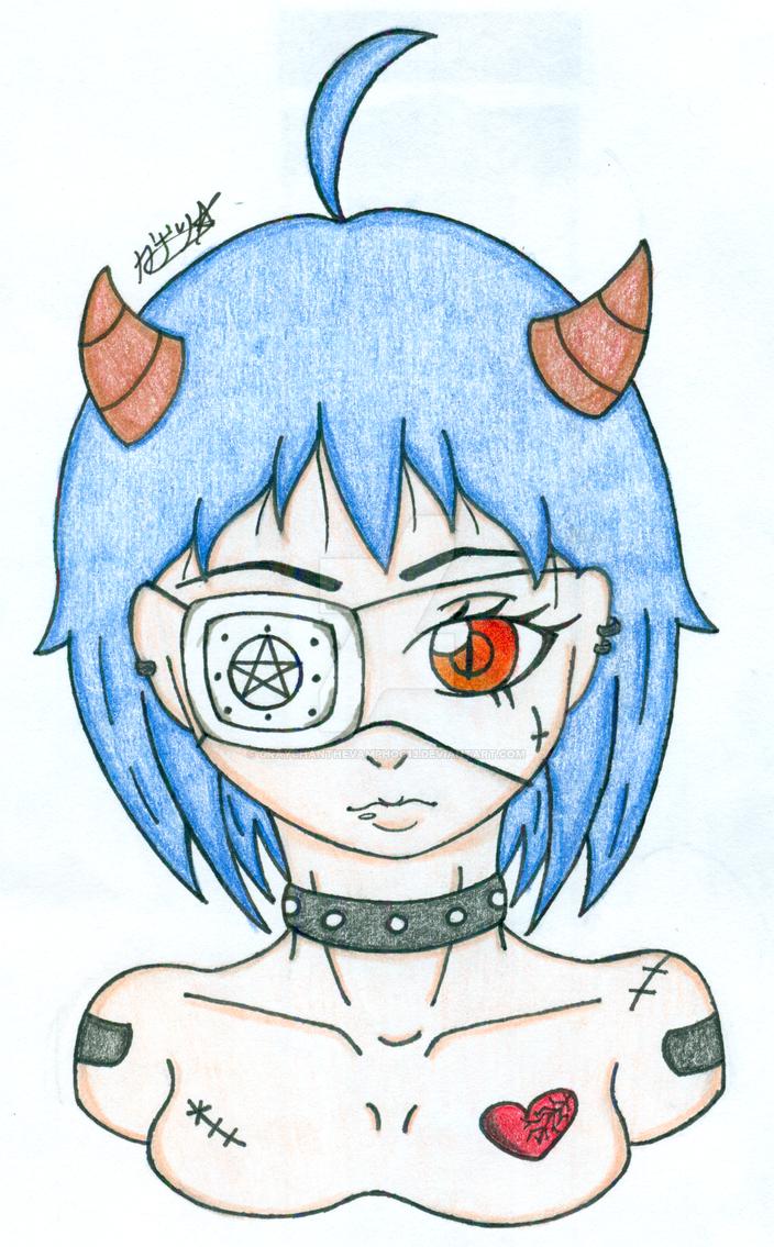 Demon Girl Collection: Blue Hair by graychanthevamphog13