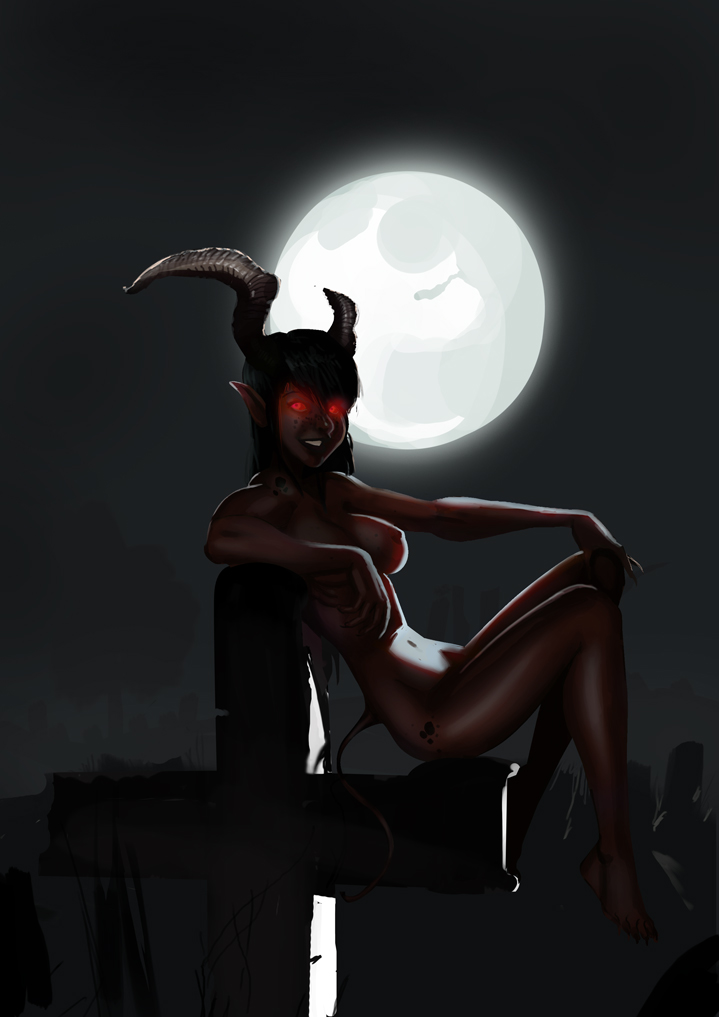 Demon Girl Chillin by morganagod