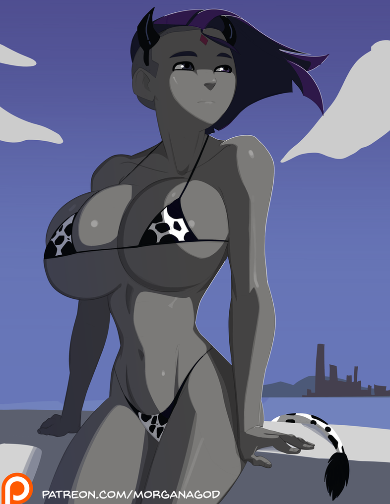 Voluptuous Raven in Cow Print Bikini by morganagod