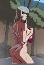 Sylveria Bles visits a hotspring by morganagod