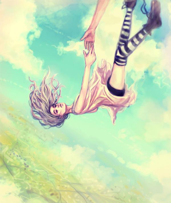Рисунок падающей девушки