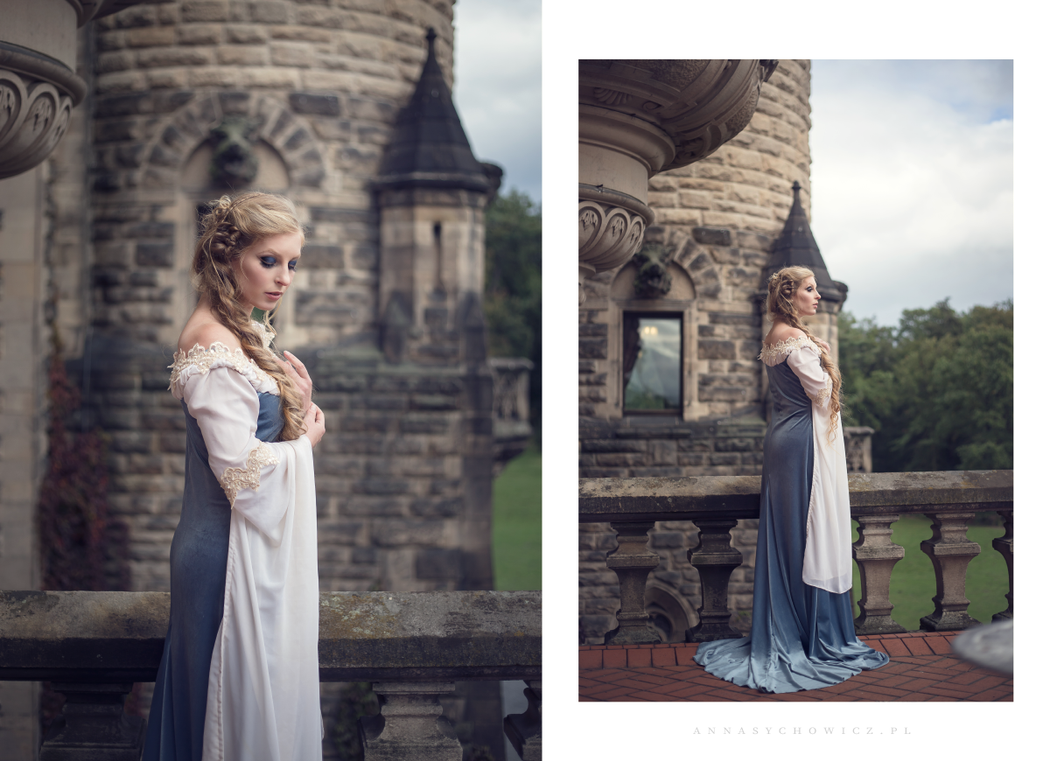 Elven gown in smokey blue by Gewandfantasien