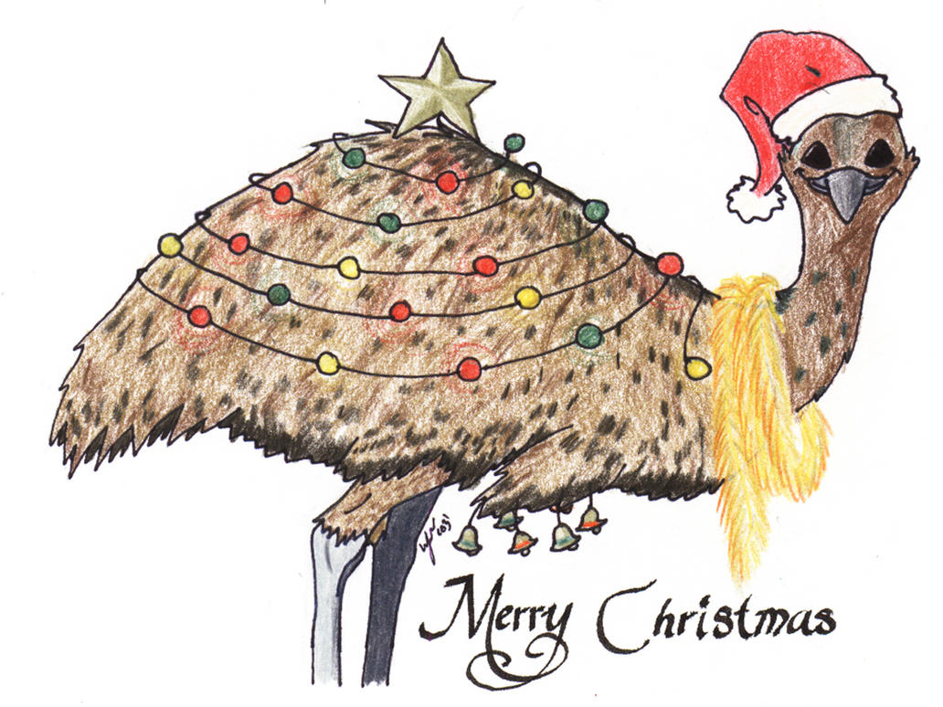 Aussie Christmas Cards - Emu by Heather-Briana on DeviantArt