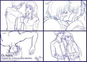 Ex Astris - Ch.7 Cutscene sketches by Cera-L-Hendry