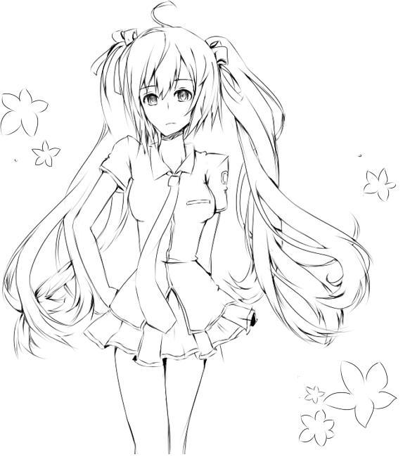 Miku Hatsune Line Art By Kimmiku On Deviantart