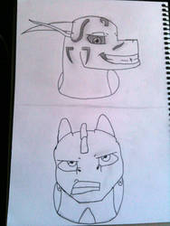 Sketch: Two sides of headshots by Dantedragon