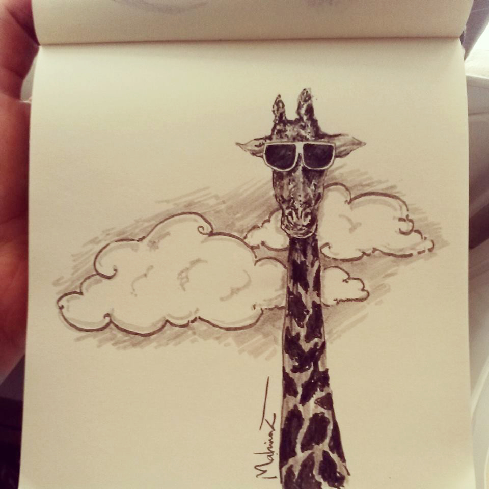 cool giraffe B| by mahinaz on DeviantArt Cool Giraffe Drawing