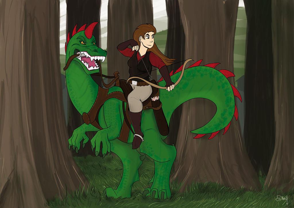 Archer on dinosaur by michno