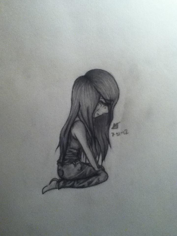 Sad pencil drawing by ashleemora