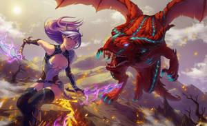 Girl VS Dragon by SandraCharlet