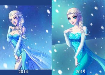 Elsa - 2014 VS 2019 by SandraCharlet