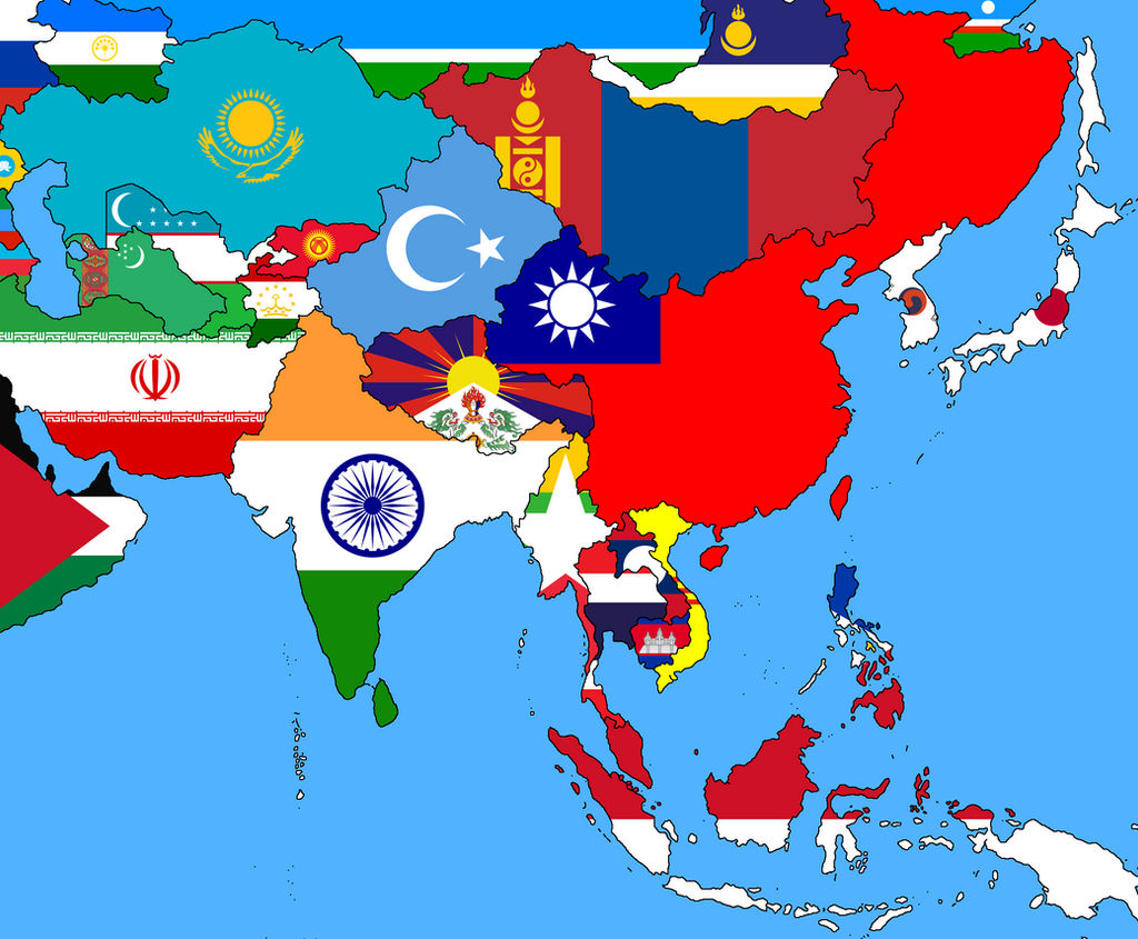 Map of Asia showing national flags inside each country's geographic shape.