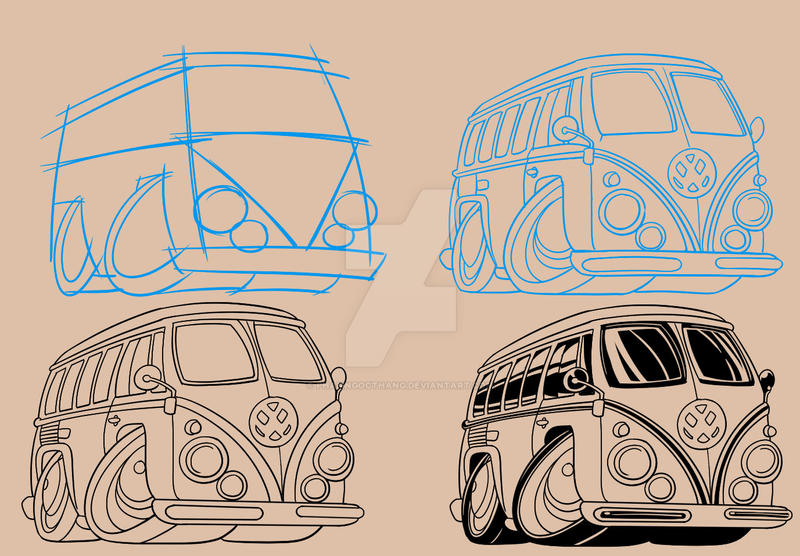 Volkswagen Camper Van Cartoon By Phamngocthang