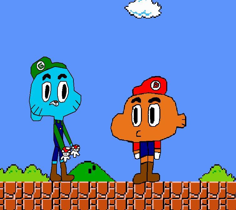 Gumball and Darwin (Super Mario Bros  Crossover) by