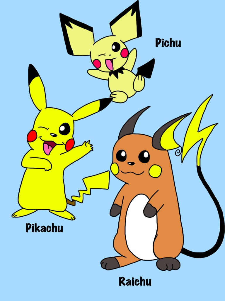 pichu pikachu and raichu by cartoonie1987 on deviantart