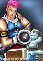 Trainer Zarya with Machop by sakuraaflor