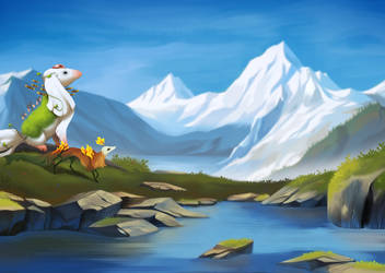 Mountain lake by golden-marrow