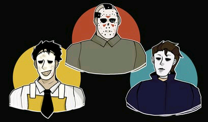 A lill drawing of some of my fav horror characters by snowdustOWO