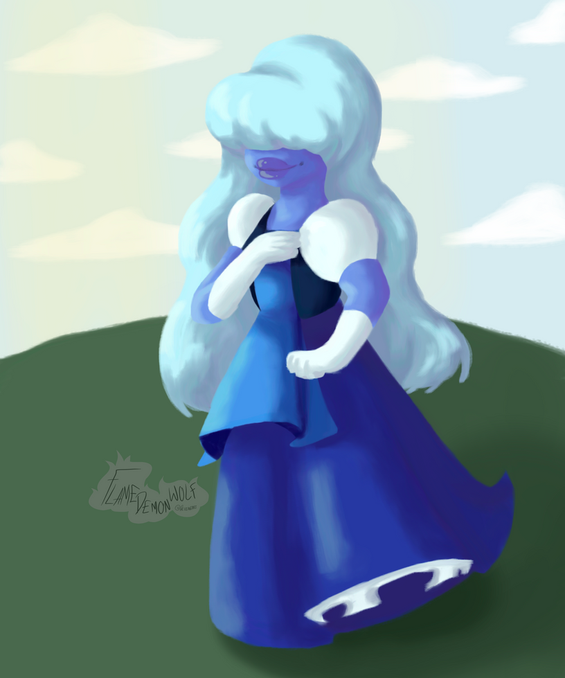 Ok so, the background sUCKS but i didn't know what to put there and i wanted to practise this painting/lineless style some more, and what better to do with this than to draw lil Sapphire?? Sapphire...